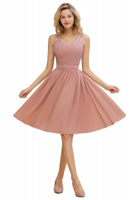 Lace Short Homecoming Dresses with Belt    Sleeveless  Pink Cheap Party Dress UK_1