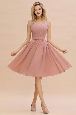 Lace Short Homecoming Dresses with Belt    Sleeveless  Pink Cheap Party Dress UK_6