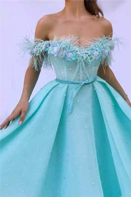 Off the Shoulder Sleeveless Evening Dress UK | Cute Feather Tulle Long Prom Dress with Pearls_2