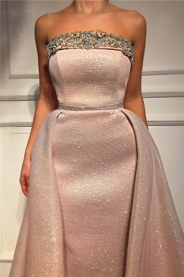 Sparkling Sequins Strapless PinkEvening Dress UK | Cheap Sleeveless Beaded Sexy Prom Dress_2
