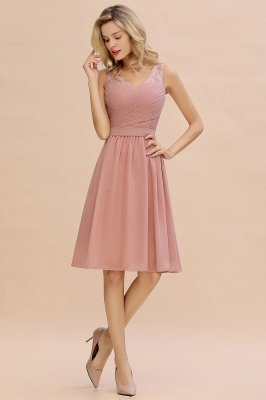 Lace Short Homecoming Dresses with Belt    Sleeveless  Pink Cheap Party Dress UK_7