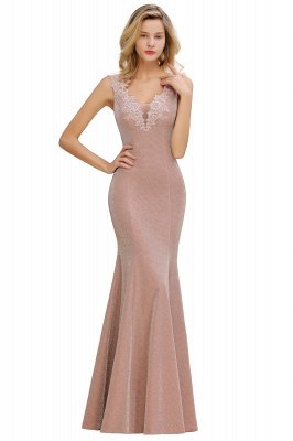 Sparkly V-neck Sexy Evening Dress UK | Flowers Sleeveless Pink Floor Length Formal Dresses_12