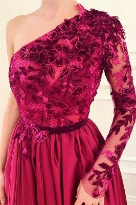 One Shoulder Sexy Slit Burgundy Prom Dress   Affordable One Sleeve Appliques Evening Dress UK_2