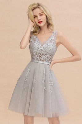 V-neck Lace Homecoming Dresses with Appliques | Cheap Short Party Dresses UK Online_6