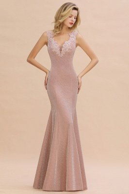 Sparkly V-neck Sexy Evening Dress UK | Flowers Sleeveless Pink Floor Length Formal Dresses_1