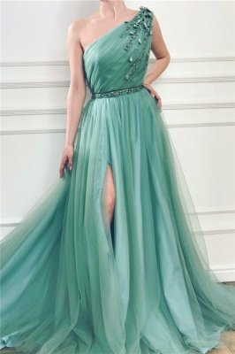 Chic One Shoulder Green Tulle Prom Dress with Beads |  Sexy Slit Long Prom Dress with Sash_1