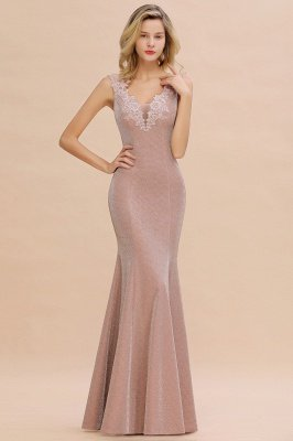 Sparkly V-neck Sexy Evening Dress UK | Flowers Sleeveless Pink Floor Length Formal Dresses_11