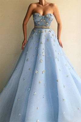 Sexy Strapless Beaded Flowers Prom Dress | Blue Tulle Long  Evening Dress UK with Beadning Sash_1