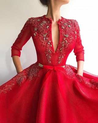 Sparkly Sequins Tulle V-Neck Red Evening Dress UK | Sexy Appliques Long Prom Dress Cheap_2