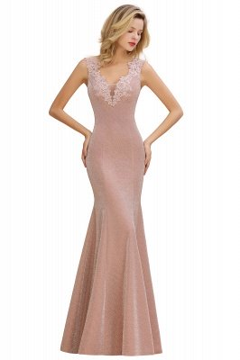 Sparkly V-neck Sexy Evening Dress UK | Flowers Sleeveless Pink Floor Length Formal Dresses_10