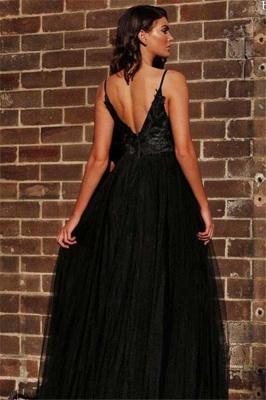 V-neck Spaghetti Straps Slit Black Tulle A-line Evening Gowns_2