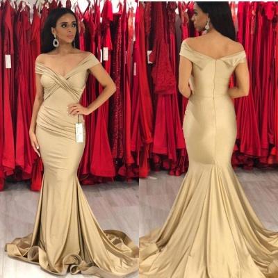 Elegant Off-the-shoulder Draped Satin Long Mermaid Prom Dresses_3