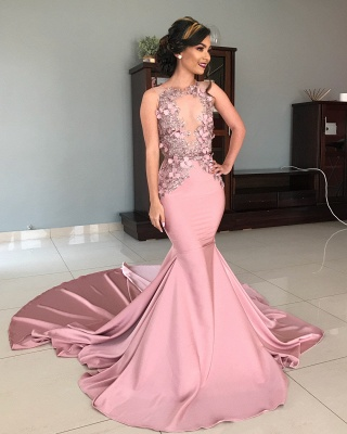 Sleeveless Illusion Neckline Flower Appliques Pink Mermaid Prom Dresses UK_3