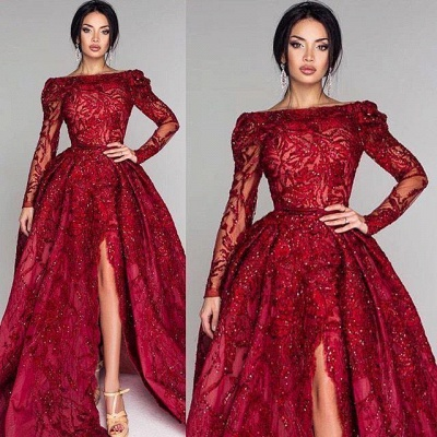 Ball Gown Backless Burgundy Beading Appliques Long Sleeves Formal Dresses_2