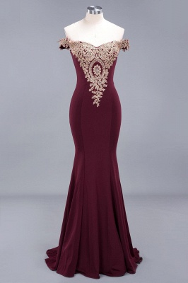 Simple Off-the-shoulder Burgundy Formal Dress with Lace Appliques_14