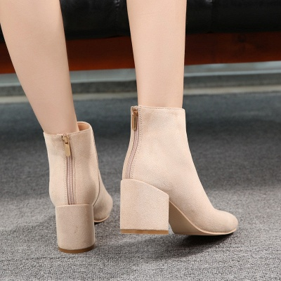 Suede Winter Chunky Heel Beading Pointed Boots_5