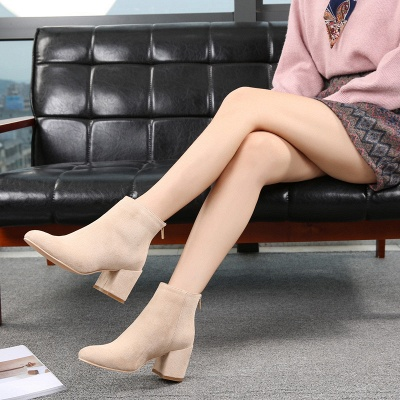 Suede Winter Chunky Heel Beading Pointed Boots_4