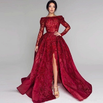Ball Gown Backless Burgundy Beading Appliques Long Sleeves Formal Dresses_4