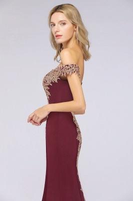 Simple Off-the-shoulder Burgundy Formal Dress with Lace Appliques_37
