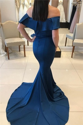 Modest Off-the-shoulder Floor Length Mermaid Formal Dresses_2