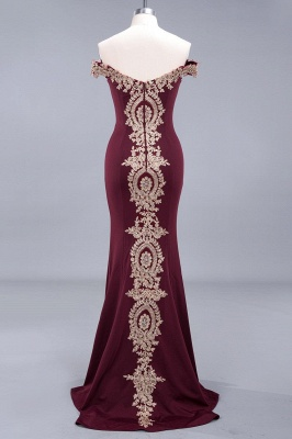 Simple Off-the-shoulder Burgundy Formal Dress with Lace Appliques_15
