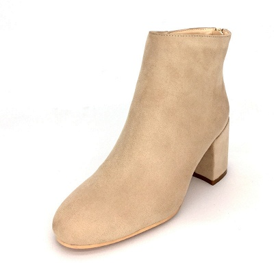 Suede Winter Chunky Heel Beading Pointed Boots_7