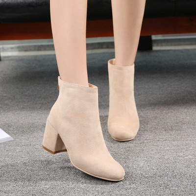 Suede Winter Chunky Heel Beading Pointed Boots_8
