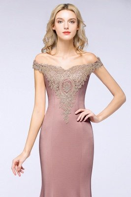 Simple Off-the-shoulder Burgundy Formal Dress with Lace Appliques_25