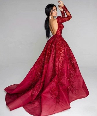 Ball Gown Backless Burgundy Beading Appliques Long Sleeves Formal Dresses