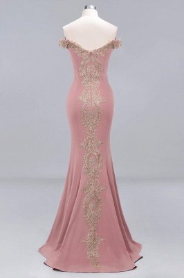 Simple Off-the-shoulder Burgundy Formal Dress with Lace Appliques_12