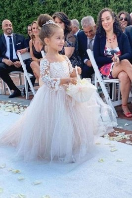 Romantic Princess Flower Girl Dress Long Sleeve Lace Gown_1
