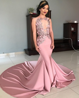 Sleeveless Illusion Neckline Flower Appliques Pink Mermaid Prom Dresses UK_2