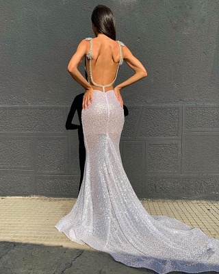Shinning Silver V-neck Sleeveless Sweep Train Sequins Mermaid Gowns_2