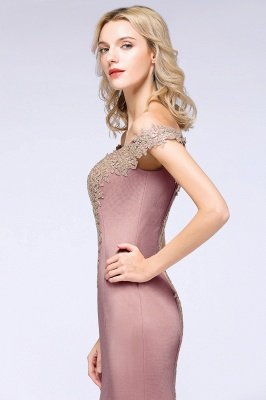 Simple Off-the-shoulder Burgundy Formal Dress with Lace Appliques_23