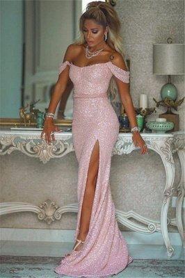 Pink Sequins Off-the-shoulder Front Slit Sheath Evening Dresses_1