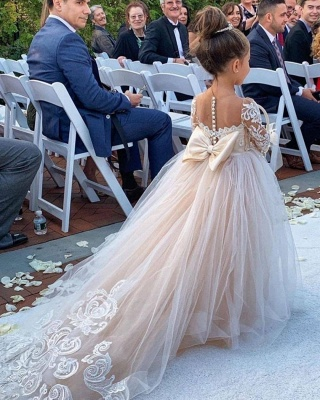 Romantic Princess Flower Girl Dress Long Sleeve Lace Gown_3