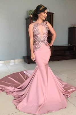 Sleeveless Illusion Neckline Flower Appliques Pink Mermaid Prom Dresses UK