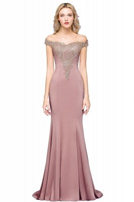 Simple Off-the-shoulder Burgundy Formal Dress with Lace Appliques_1