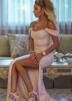 Pink Sequins Off-the-shoulder Front Slit Sheath Evening Dresses_3