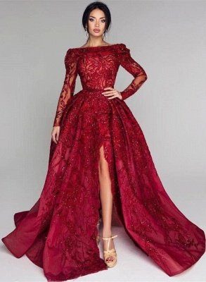 Ball Gown Backless Burgundy Beading Appliques Long Sleeves Formal Dresses_3
