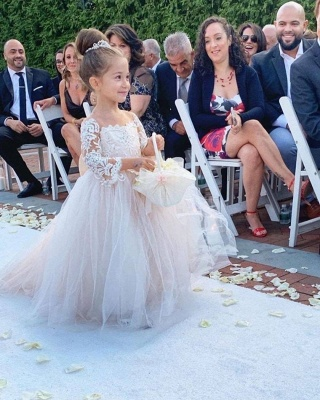 Romantic Princess Flower Girl Dress Long Sleeve Lace Gown_4