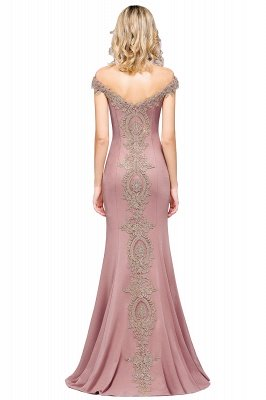 Simple Off-the-shoulder Burgundy Formal Dress with Lace Appliques_28