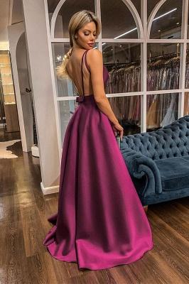 Spaghetti Straps V-neck A-line Satin Prom Dresses UK_2