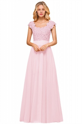 Sleeveless Lace Appliques Chiffon A-line Prom Gowns_1