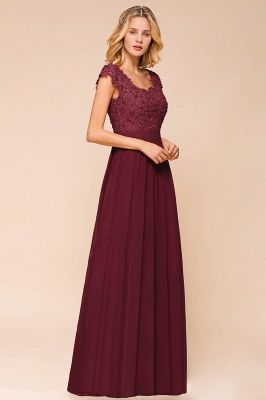 Sleeveless Lace Appliques Chiffon A-line Prom Gowns_13