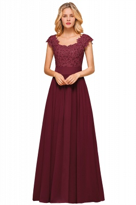 Sleeveless Lace Appliques Chiffon A-line Prom Gowns_3