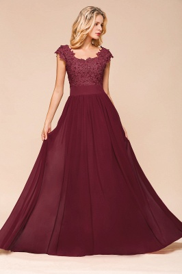 Sleeveless Lace Appliques Chiffon A-line Prom Gowns_10