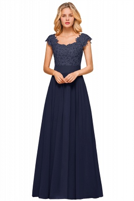 Sleeveless Lace Appliques Chiffon A-line Prom Gowns_4
