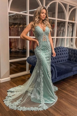 Trendy V-neck Lace Appliques Sweep Train Mermaid Prom Dresses UK Designs_1