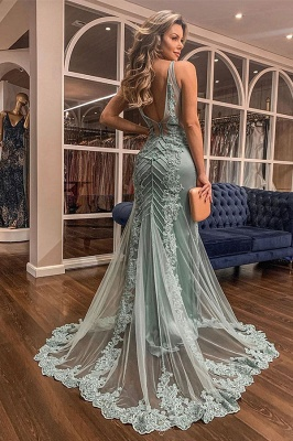 Trendy V-neck Lace Appliques Sweep Train Mermaid Prom Dresses UK Designs_2